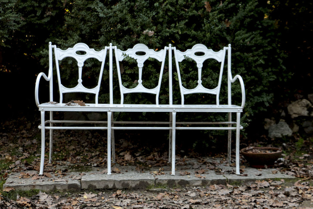 Bench Empty Metallic Panchinavuota Park Seat Sedile Side By Side Tranquility