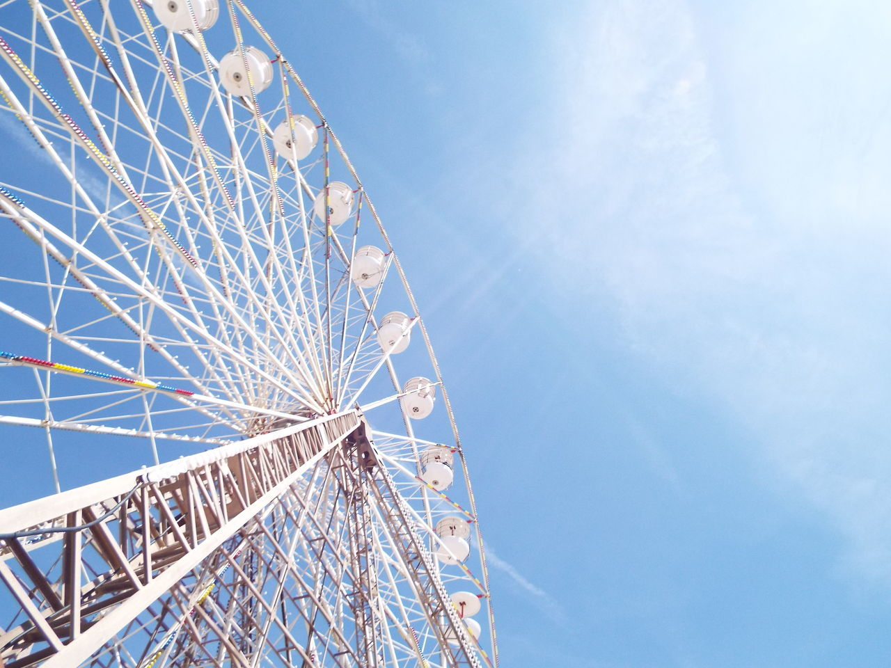 Blue Sky Blackpool Central Pier Central Pier Big Wheel Ferris Wheel Blue White The Essence Of Summer Tourist Attraction  Tourism Summertime Summer 2016 Minimalist Architecture