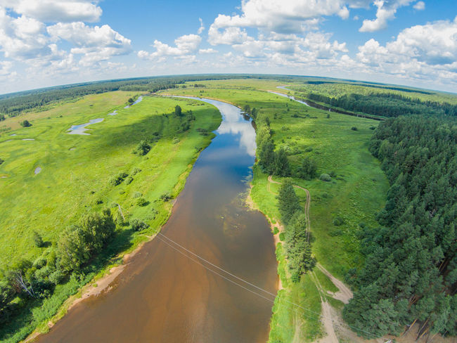 Wire over the river Mologa. Shooting from height of the bird's flight. Maksatikhinsky District, Tver Region. Aerial Aerial Photography Aerial Shot Aerial View Cloud - Sky Clouds And Sky Day Dji Phantom Dronephotography Green Color Horizontal Landscape Mologa Nature Outdoors Reflection River Russia Sky Summer Water