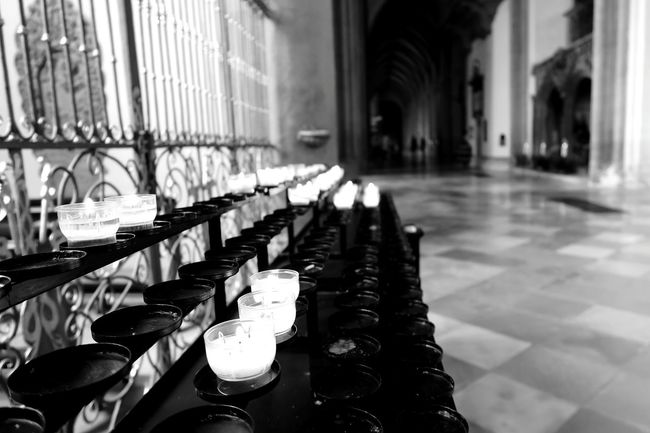 Historic Historical Candle Candles Candlelight Candle Light Candle Flame Bayern Augsburg Bavaria Germany Augsburgcity Darkness And Light Dark Church Black Blackandwhite Black & White Blackandwhite Photography Black And White Photography Blackandwhitephotography
