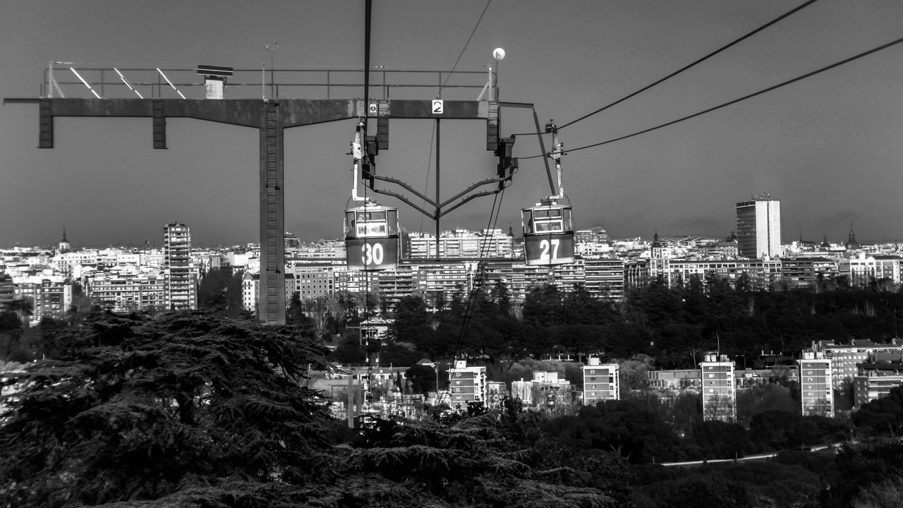 Architecture Black & White Black And White Bnw Bnw_collection Cable Cable Car Cablecar Cableway Check This Out City Cityscape Connection Day EyeEm Gallery No People Outdoors Sky Teleferico Tree Flying High