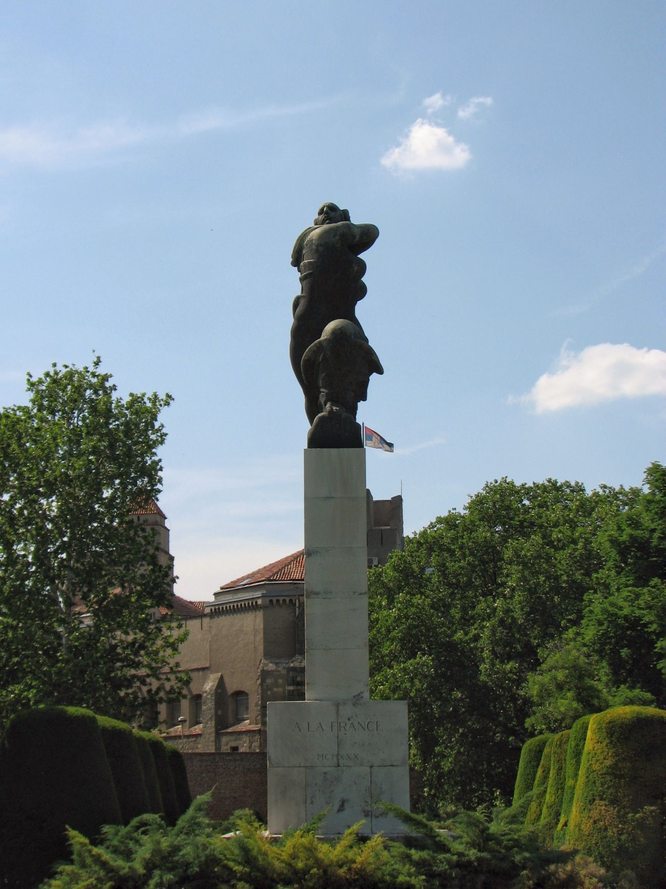 Monument No People Statue Sky City Sculpture Reconnaissance A La France World War I Memory Memorial Serbia Yugoslavia Kalemegdan  Belgrade
