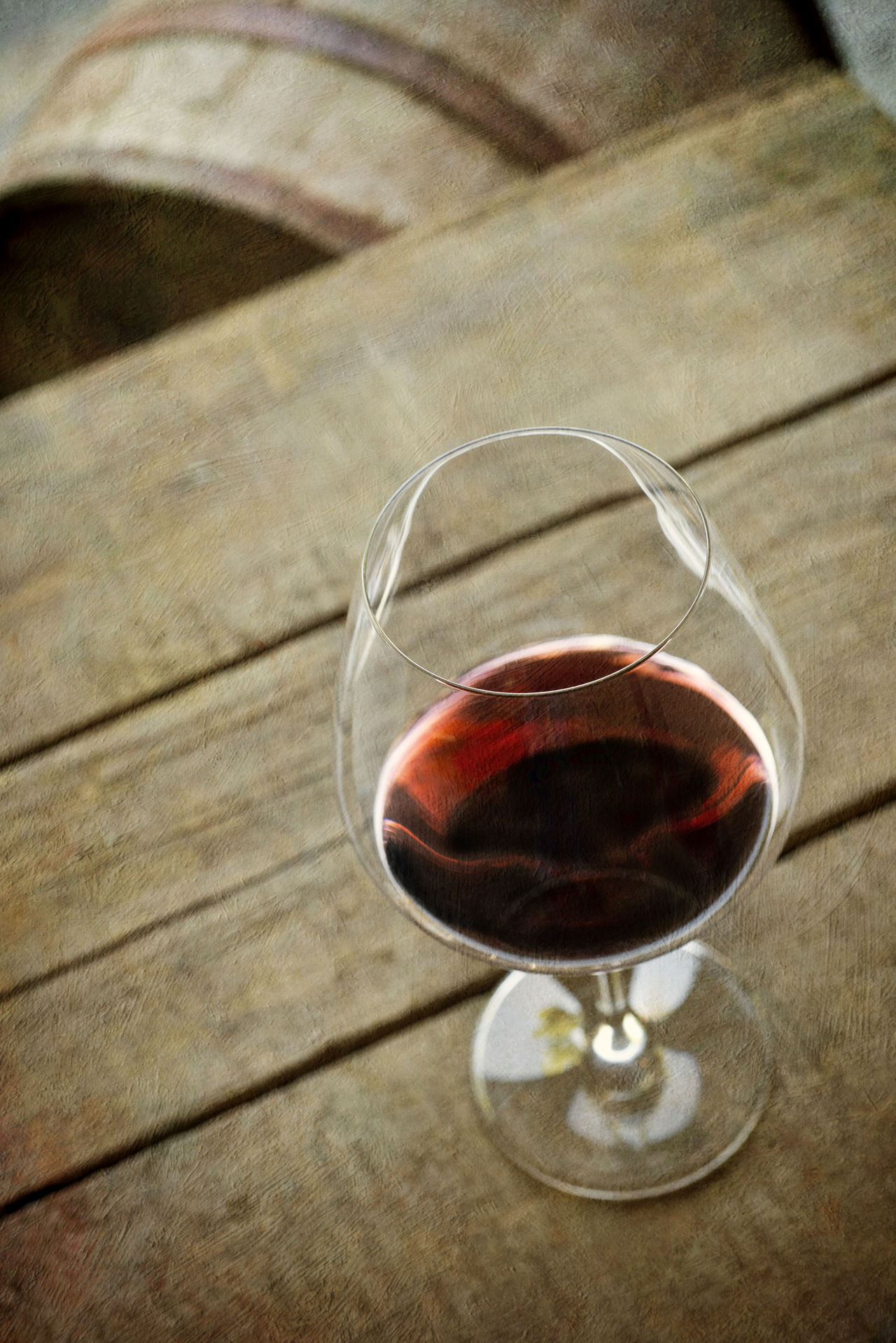 Alcoholic Drink Barrel Beverage Boards Cabernet_sauvignon Drink Focus On Foreground Food And Drink Indoors  Merlot No People One Object Red Wine Red Wine♡ Still Life Vertical Composition Wine Wineglass Wood Surface