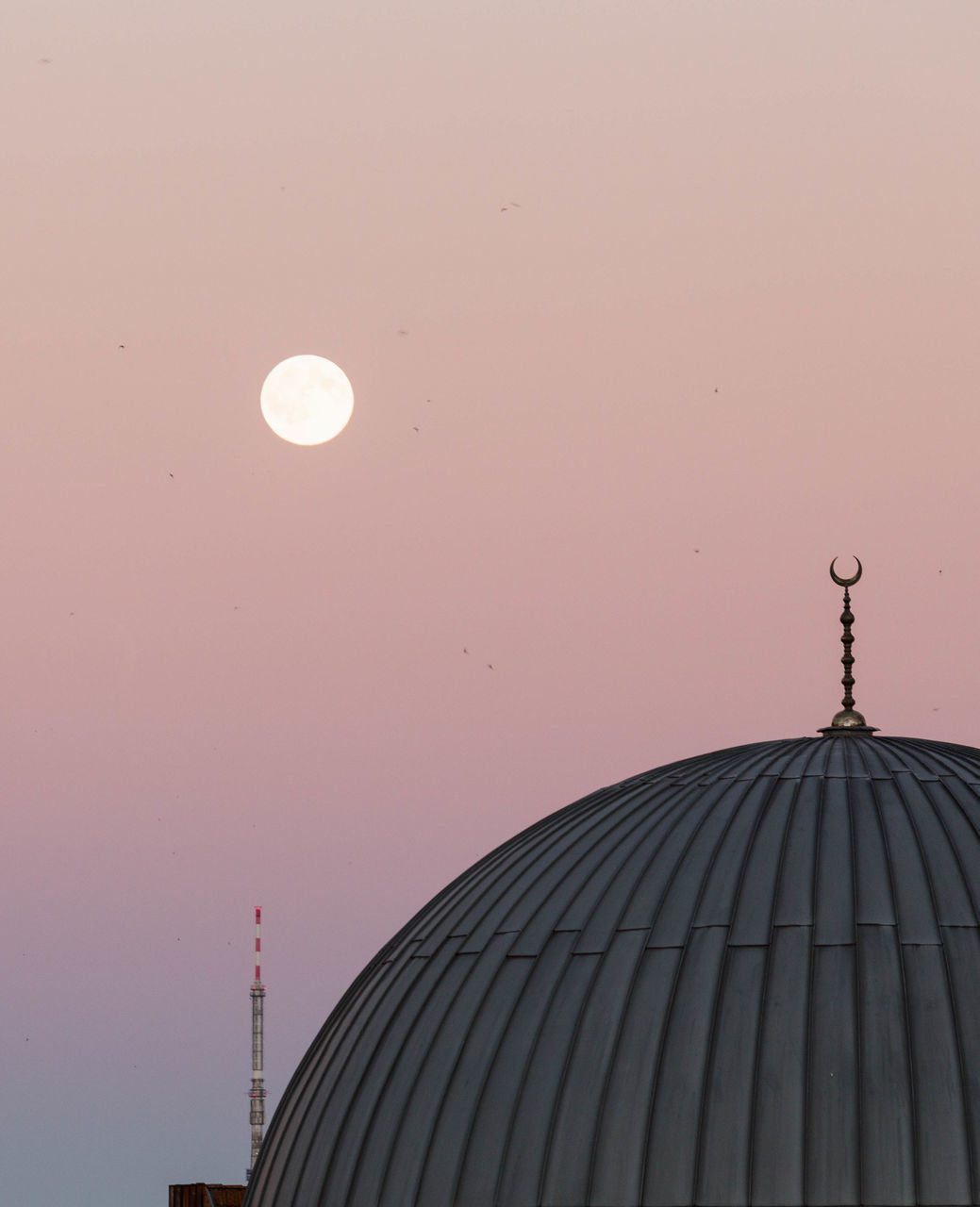 architecture, built structure, building exterior, sunset, clear sky, moon, dome, no people, sky, outdoors, day, nature