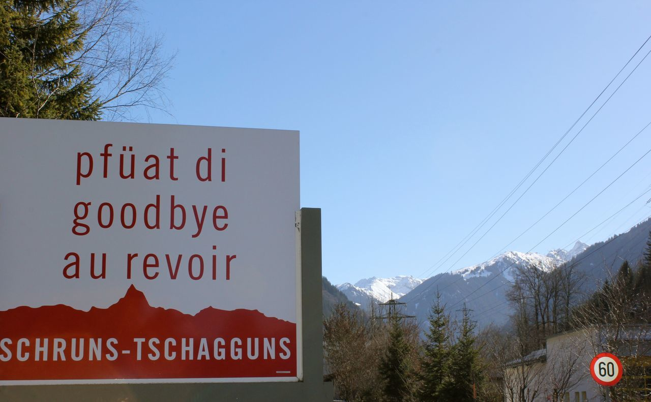 Au Revoir Beauty In Nature Cold Temperature Communication Day Goodbye Mountain Nature No People Outdoors Pfüät Di Road Sign Sky Text Winter