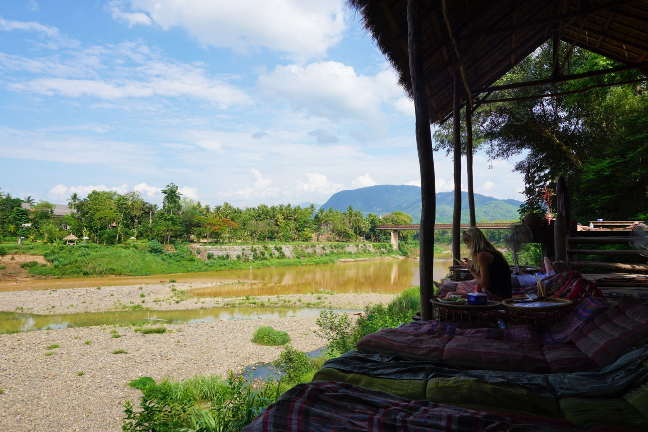 2017 Beauty In Nature Cafe Day Feild Forest Freedom Laos Luang Phabang Luang Prabang Mekong River Nature Outdoors People Real People Restaurant River Scenics Sitting Sky Tree Water ユートピア ラオス ルアンパバーン