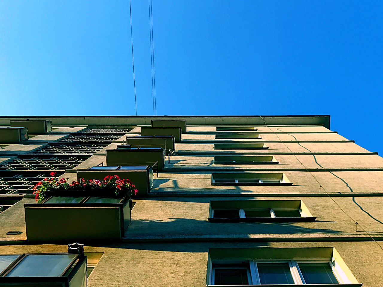 architecture, building exterior, built structure, clear sky, day, blue, copy space, sunlight, outdoors, low angle view, real people, city, sky