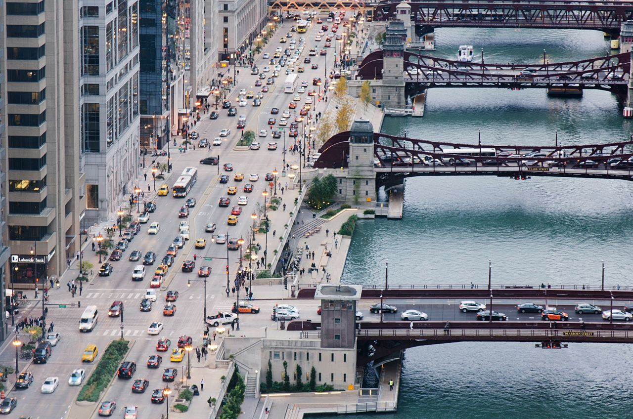 Chicago Aerial View Chicago City Cityscape Loop Riverwalk Traffic Travel Destinations