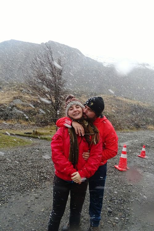 Ice Age Portrait Looking At Camera Leisure Activity Togetherness Lifestyles Mountain Bonding Young Women Warm Clothing Love Casual Clothing Young Adult Person Winter Season  Sari Non-urban Scene Scenics Beauty In Nature Field