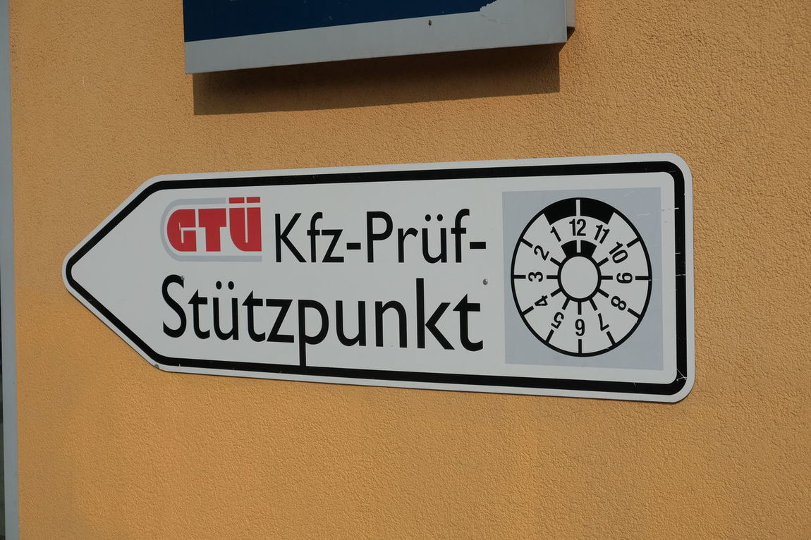 Berlin, Germany - August 31, 2017: GTU signage. Gtue is a German company providing periodic technical inspection for all kind of vehicles German Service Certification Communication Emission Test Germany Gtu No People Outdoors Pollution Pti