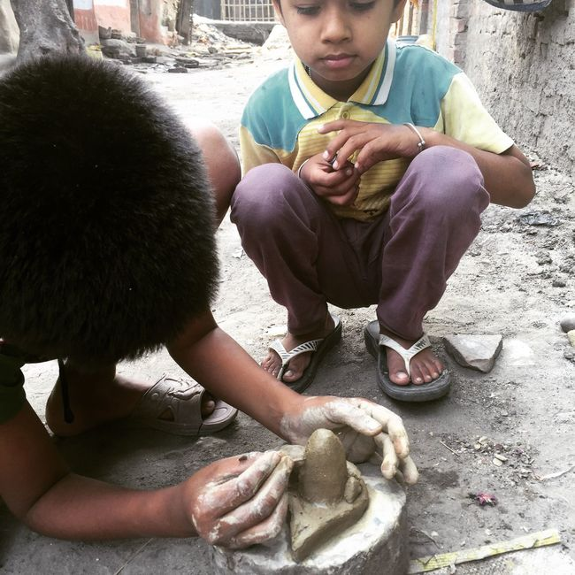 Elder Brother making Shivling and Youngerbrother Watching & Learning How To Make Brotherhood