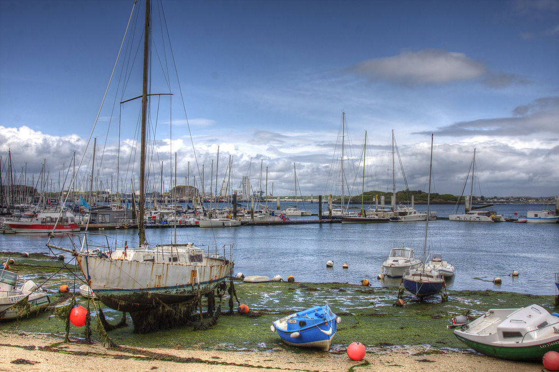 Boat Bretagne Cloud - Sky Day Harbor HDR Hdr_Collection Lorient Mode Of Transport Moored Nature Nautical Vessel No People Outdoors Sailboat Sea Sky Transportation Water
