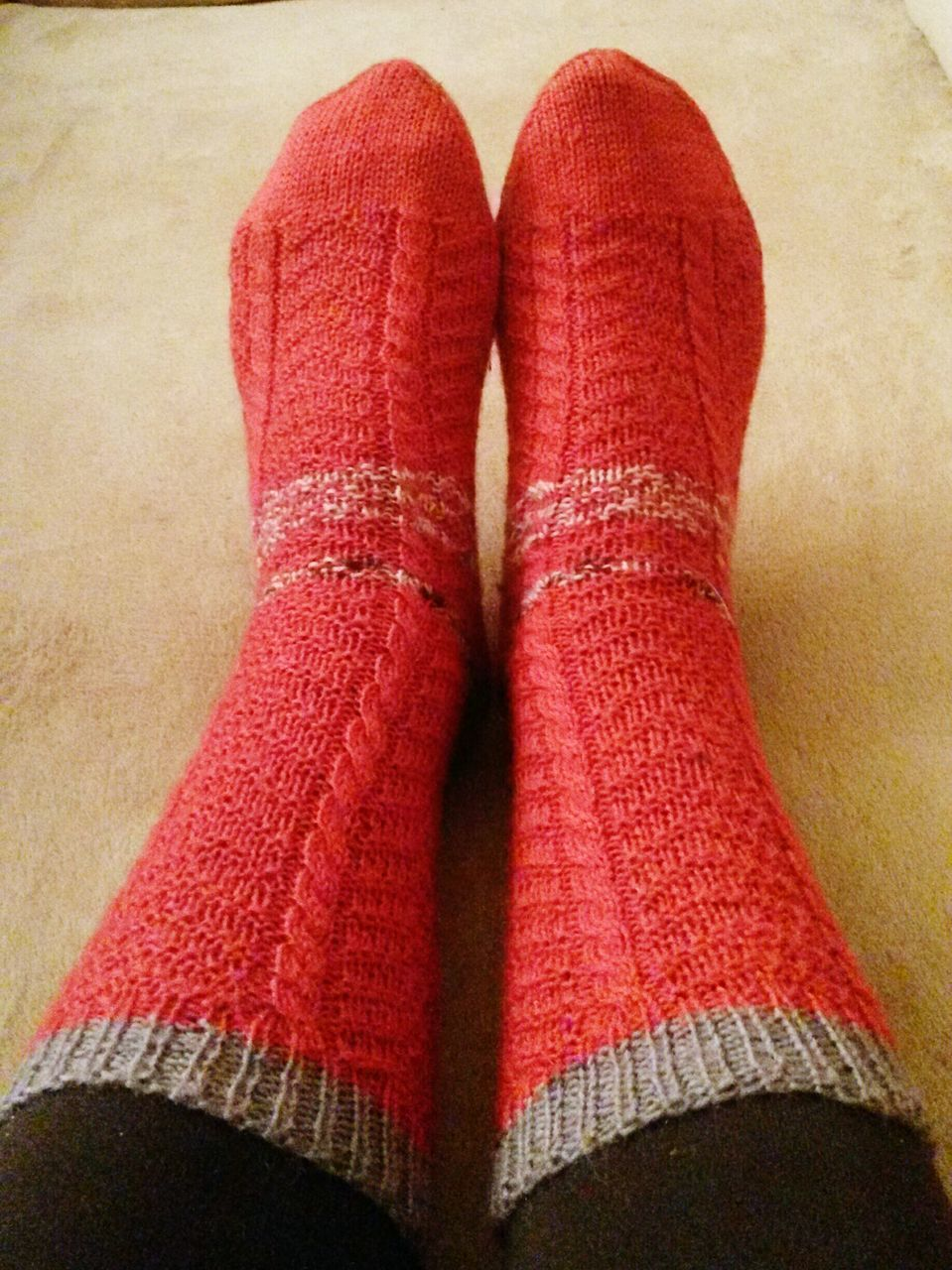 indoors, sock, red, human body part, human leg, real people, wool, sweater, one person, close-up, low section, day, people
