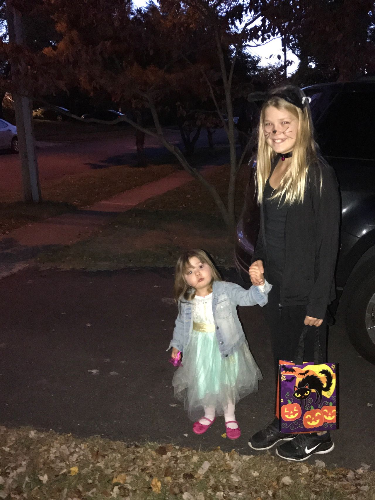 Halloween night - trick or treating Two People Night Outdoors Girls