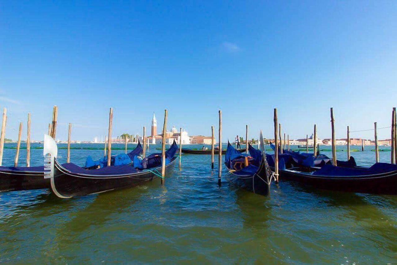 Gondola - Traditional Boat Moored Transportation Travel Destinations Nautical Vessel Blue Water Outdoors Day No People Sky Nature