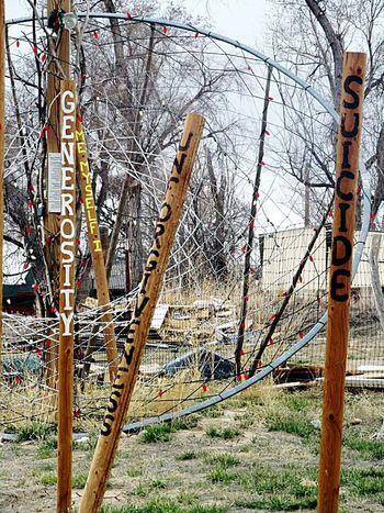 Always Keep Fighting. Dreamcatcher Cross Negativity Virtues Positive White Clay Nebraska Pine Ridge Reservation Pine Ridge Native American Poles