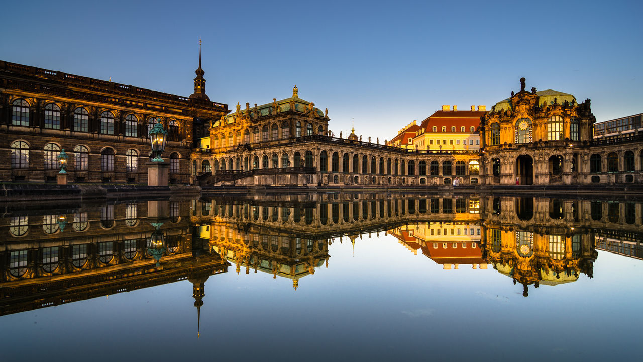 Mirrored Architecture Architecture Blue Building Exterior Dresden - Barock Statt Beton EyeEm Best Shots Façade Famous Place Historical Building Mirror No People Reflection Seeing The Sights Shootermag Sightseeing Sky Standing Water Symmetry Tower Travel Destinations Water Water Reflections Zwinger Beautifully Organized