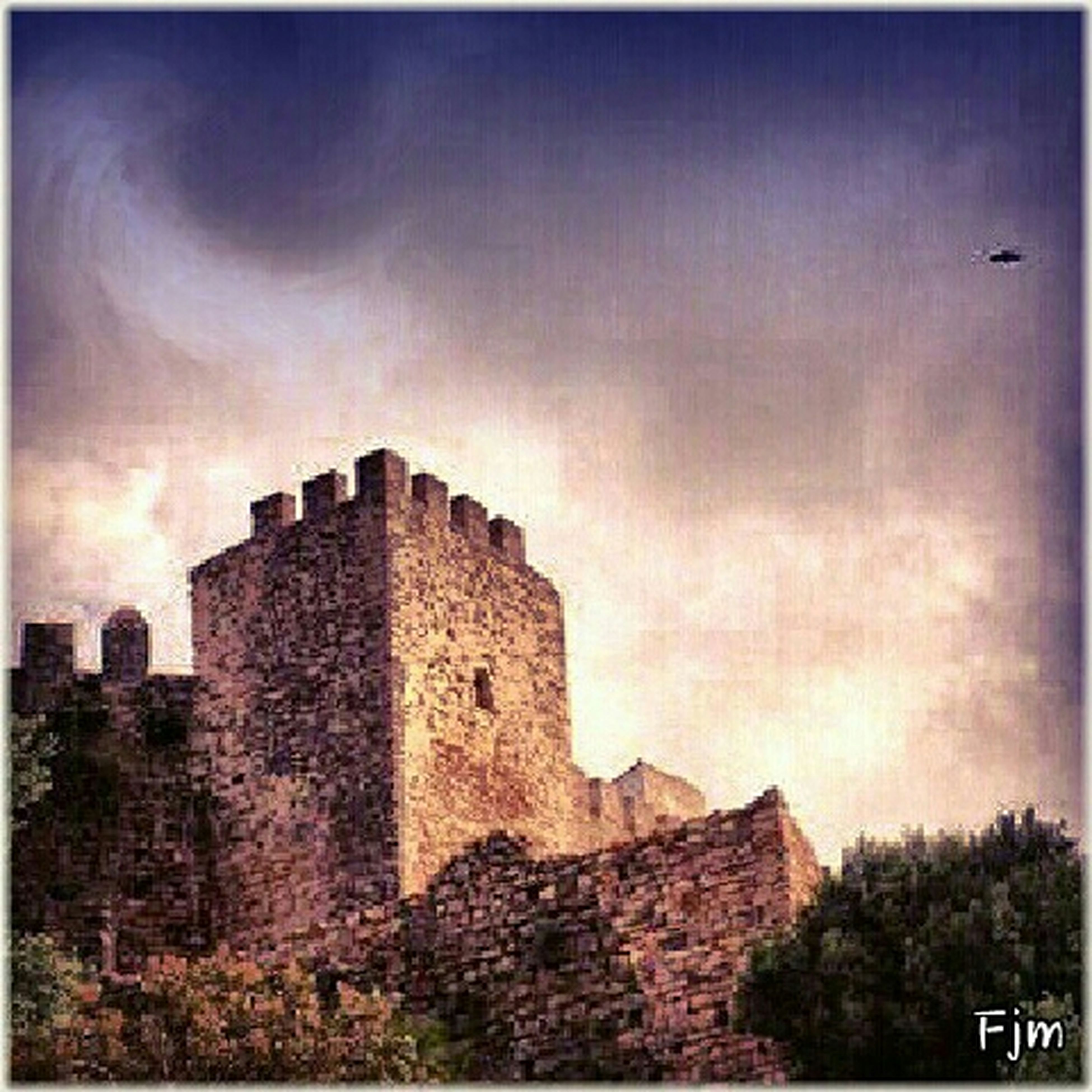 architecture, built structure, building exterior, sky, low angle view, history, old, auto post production filter, transfer print, castle, the past, old ruin, stone wall, cloud - sky, ancient, outdoors, no people, damaged, tower, exterior