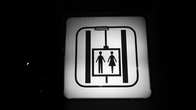 Nice to meet you ;-) Elevator Sign Signs Information Sign Guiding Black And White Blackandwhite Close-up Selective Focus No People Pictography Pictogram Pictograph No Stairs