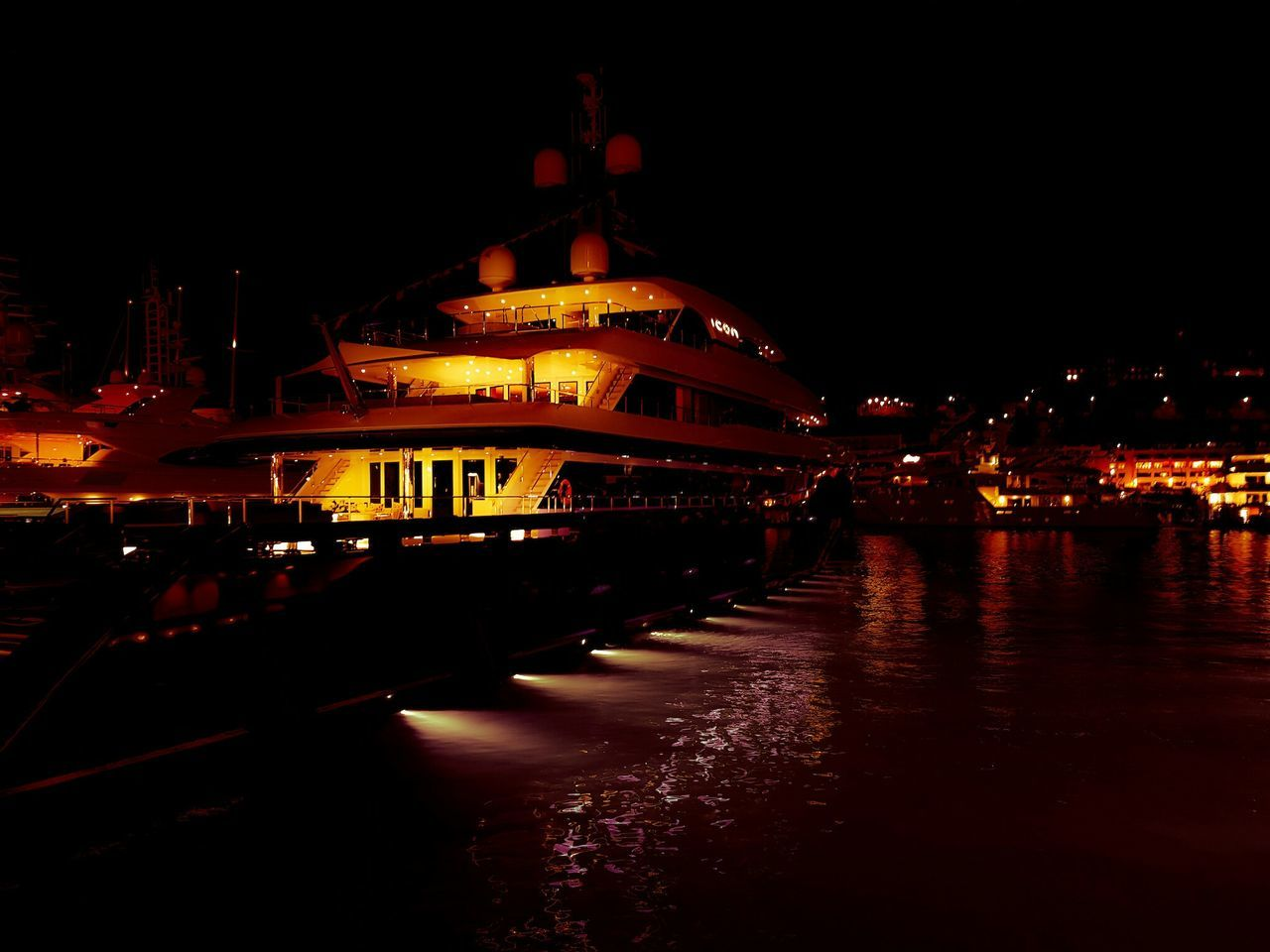 Monaco Yacht Show, Monaco Night Architecture Illuminated Reflection Business Finance And Industry Building Exterior Travel Destinations City No People Outdoors Sky Water Monaco