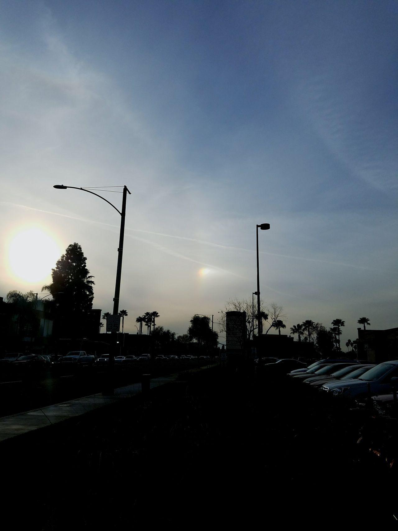 Dramatic Sky Street Light Sunset Ring Around The Sun No People Sky Night Cloud - Sky