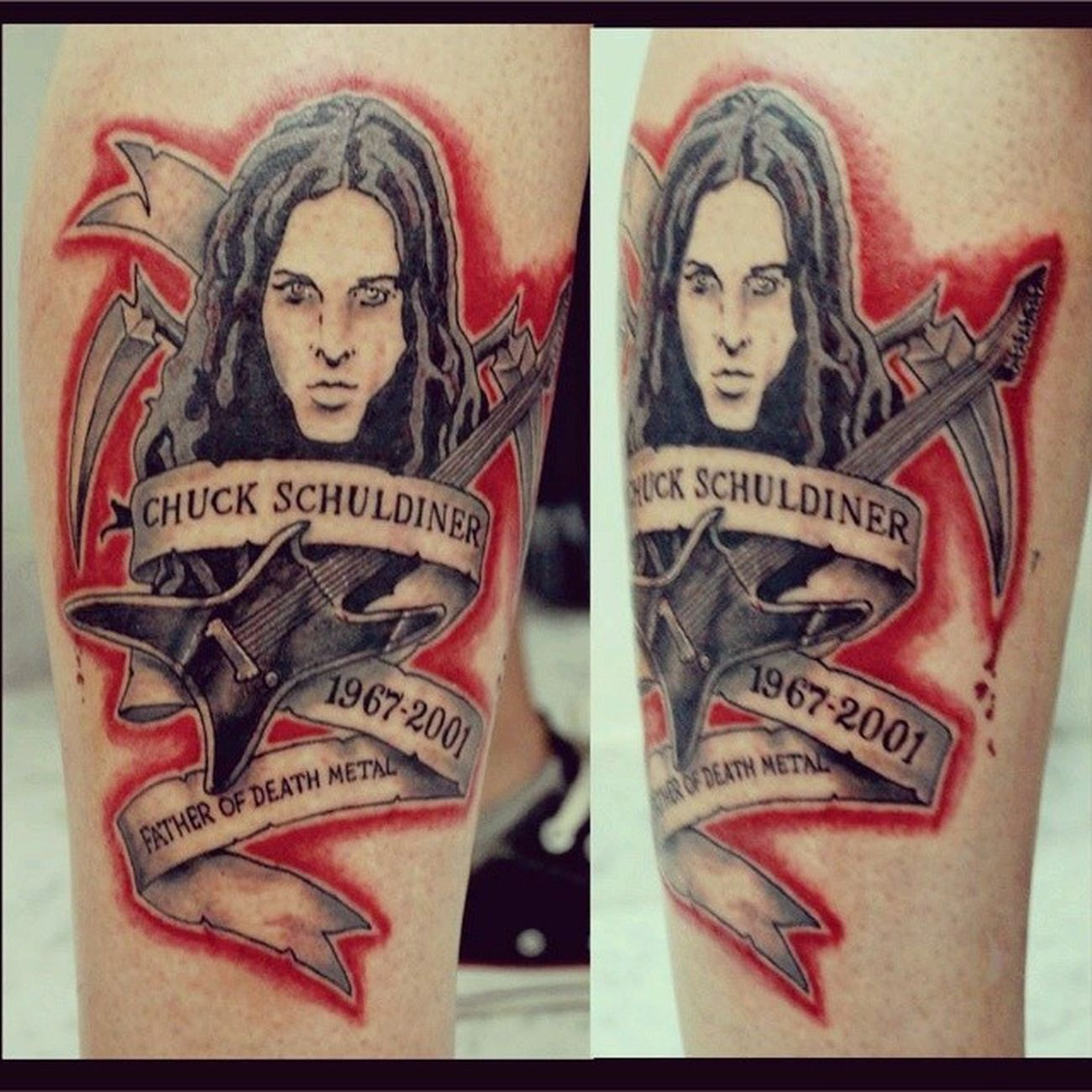 minha tattoo Death Chuck Chuckschuldiner Metal metalhead deathmetal king guitar tattoo ink tattooink inkatattoo