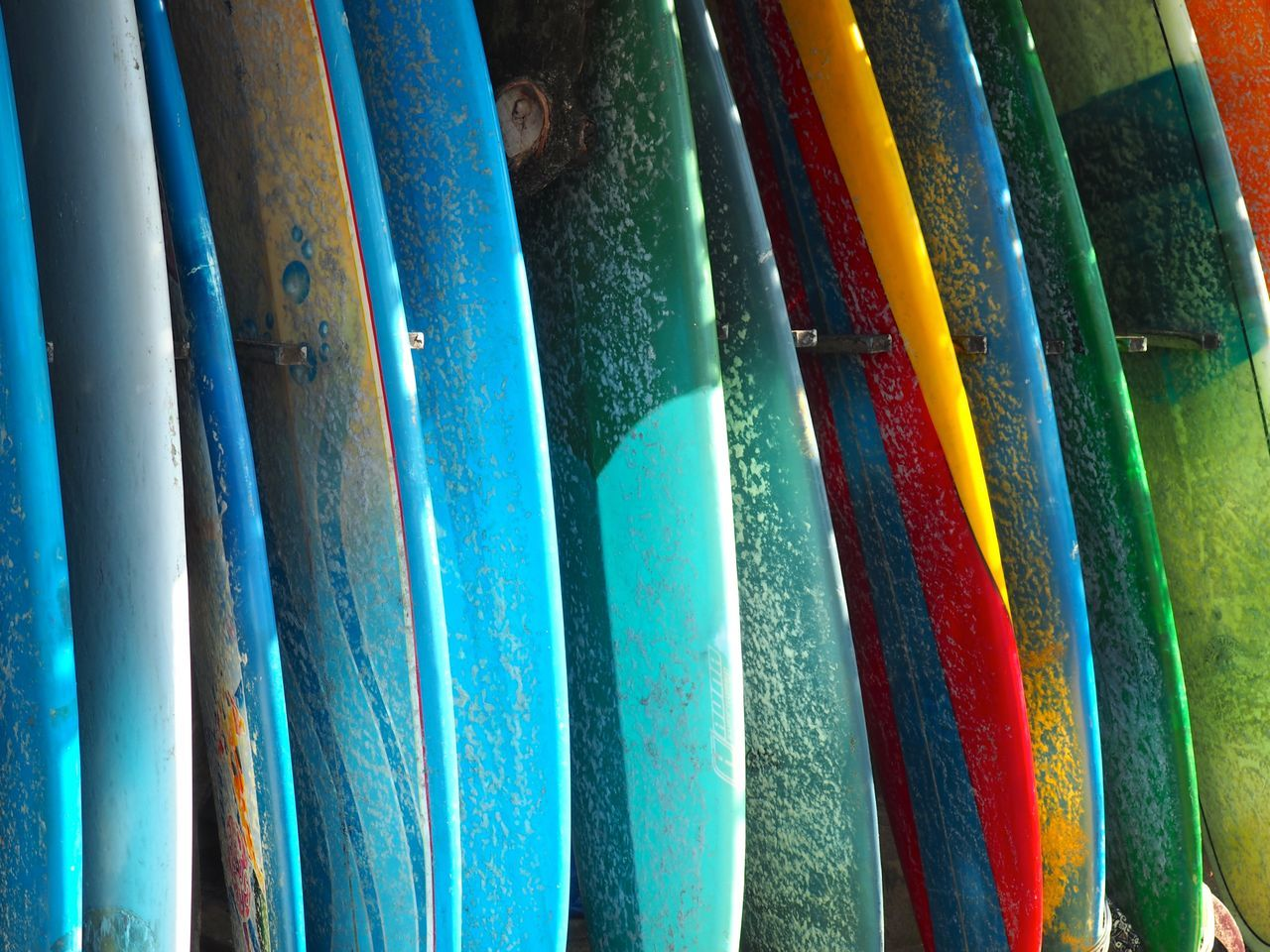 Arrangement Backgrounds Bali Blue Canggu Close-up Day Exotic Full Frame Hobby In A Row INDONESIA Large Group Of Objects Lifestyles Multi Colored No People Rainbow Colors Surf Surfboard Surfing Textured  Traveling Variation Water Sports Waves
