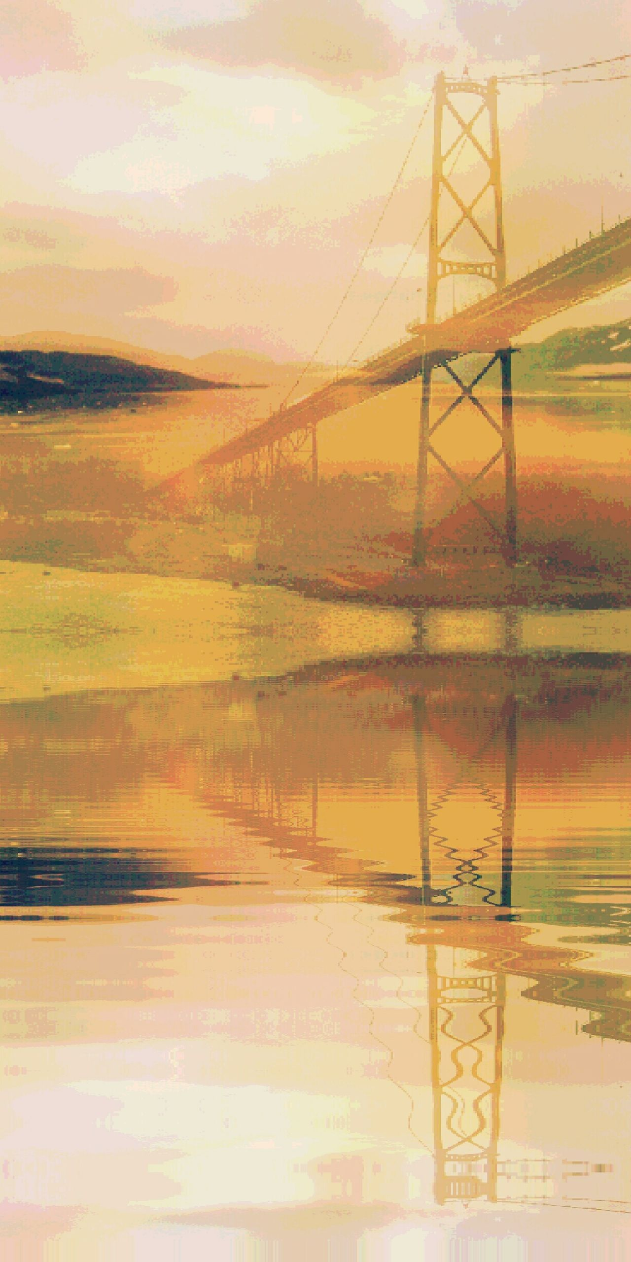 Bridges Overpass Underpass Water Reflections Overlays Landscape Layers Bright Peach Light Water Ripples Effect