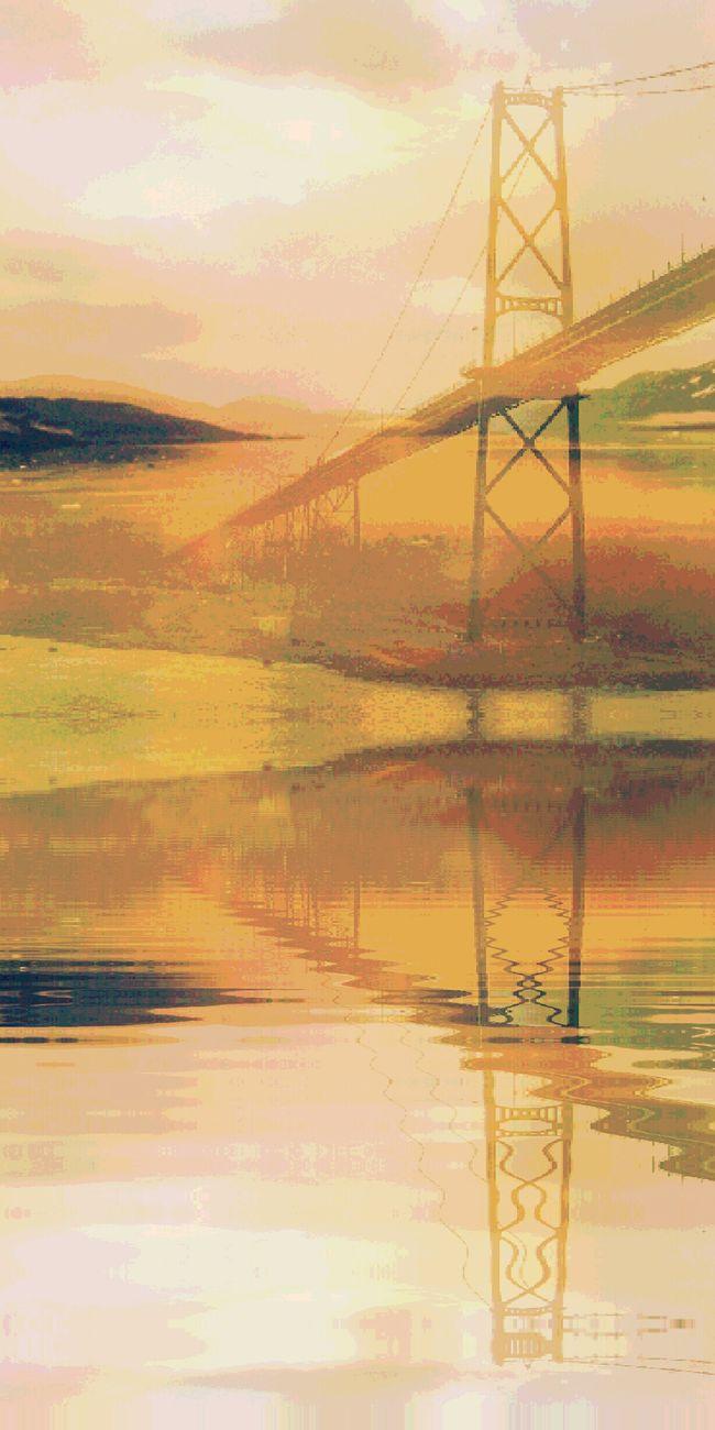 Bridges Overpass Underpass Water Reflections Overlays Landscape Layers Bright Peach Light Water Ripples Effect
