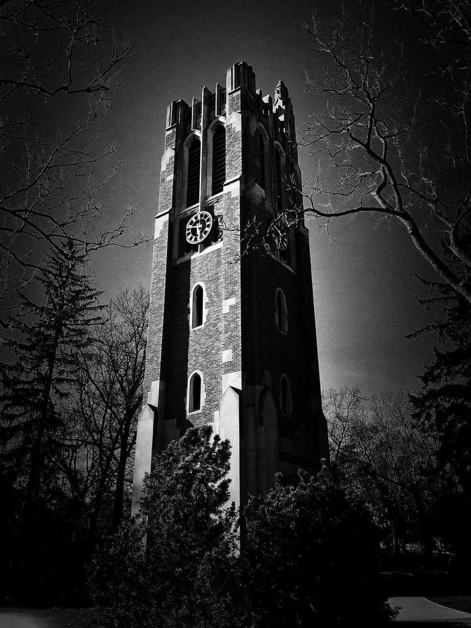 Beaumont Tower Architecture Msu Michigan State Blackandwhite