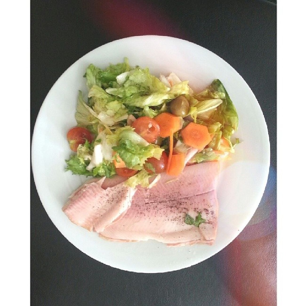 Smokedtrout and Salad after gym