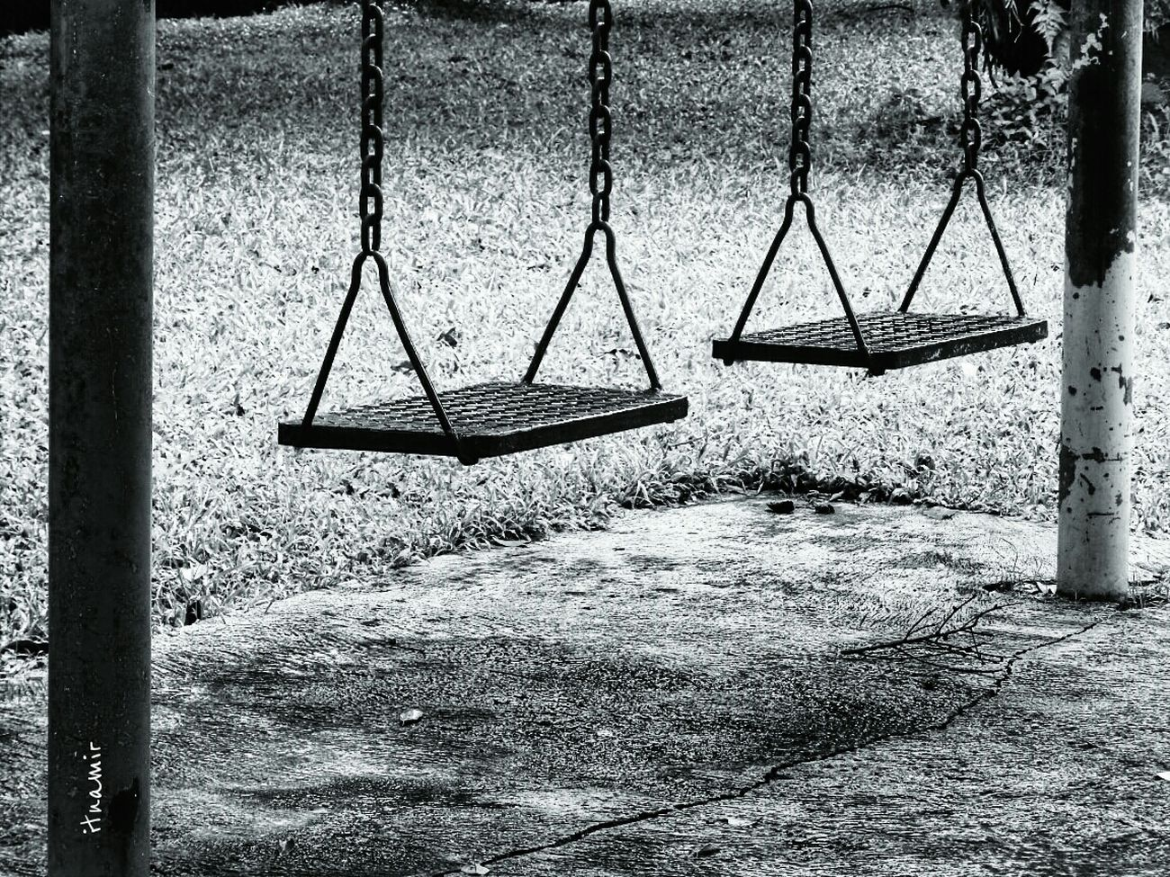 it's rainy season. no children play outside. Park Blackandwhite Let's Swing
