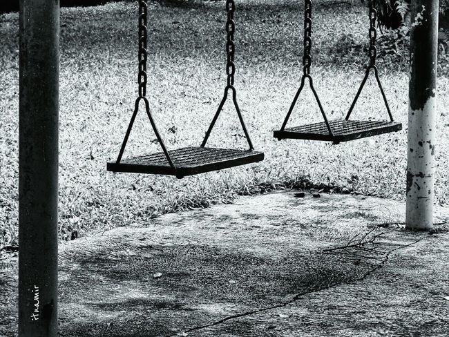 it's rainy season. no children play outside. Park Blackandwhite Let's Swing
