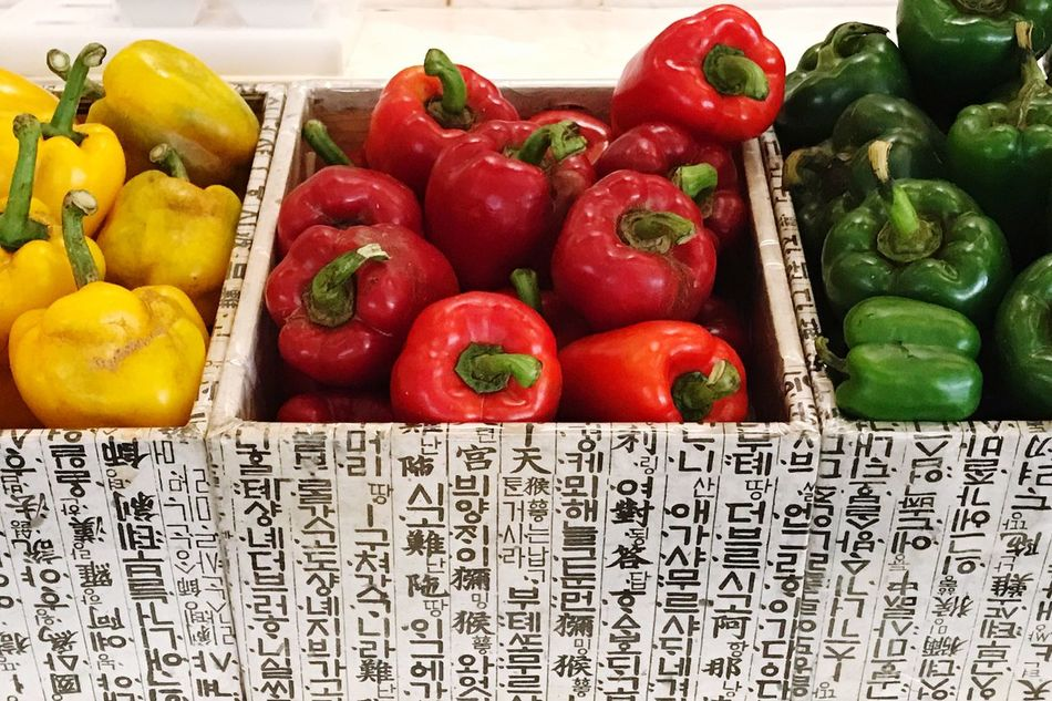 EyeEm Diversity Vegetable Healthy Eating Freshness Red Bell Pepper Bell Pepper No People High Angle View Food