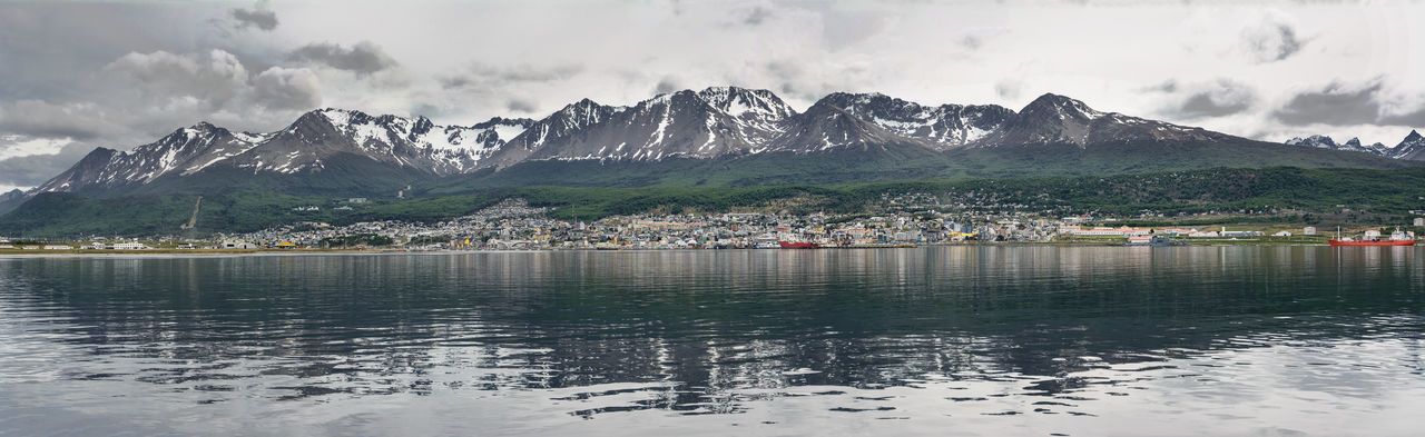 Ushuaia viewed from Beagle channel (Argentina) America Argentina Bay Beagle Beagle Channel Canal De Beagle Channel City Coast Glacier Harbor Land Of Fire Landscape Martial Mountain Sea Snow Snowcapped Tierra Del Fuego Town Ushuaïa Village Wake Water