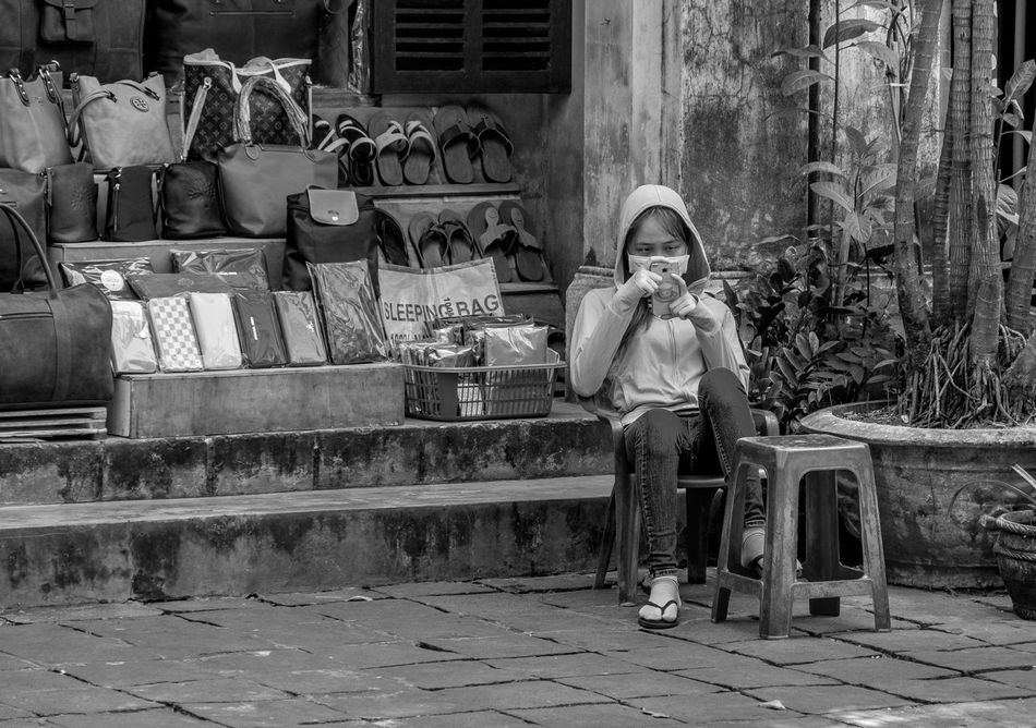 Bag seller, Hoi An, Vietnam Vietnam FUJIFILM X-T2 Hoi An Outdoors Architecture Monochrome Monochrome Photography Black And White Building Exterior