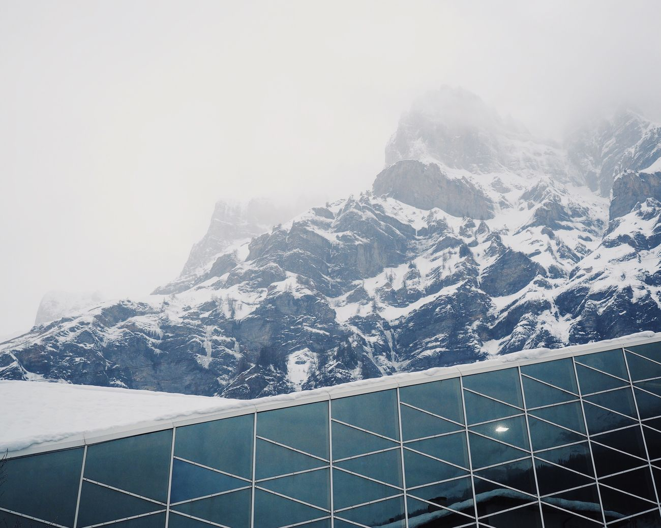 Snow Winter Mountain Cold Temperature No People Outdoors Day Architecture Contrast Reflection Foggy Morning Architecture_collection Building Exterior at Leukerbad Switzerland