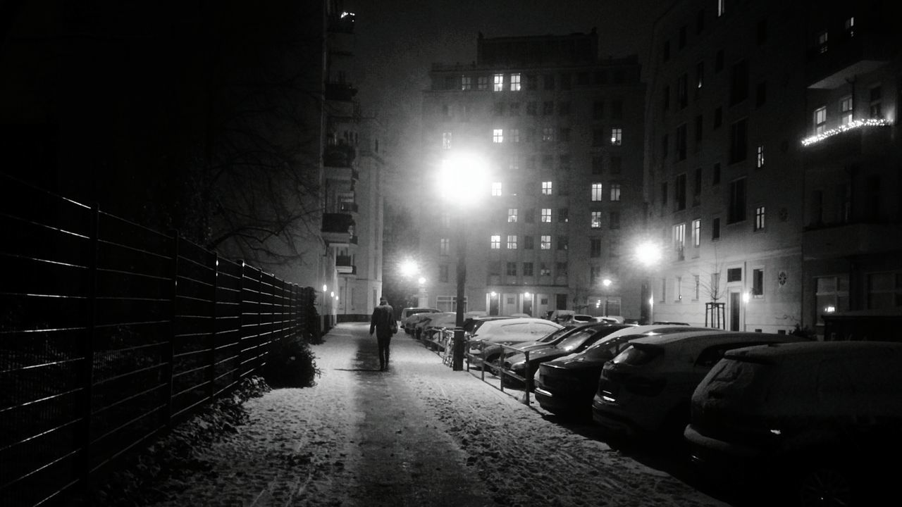 Snowy night in Berlin Night Illuminated Street Light Car Transportation No People Outdoors City Architecture Sky