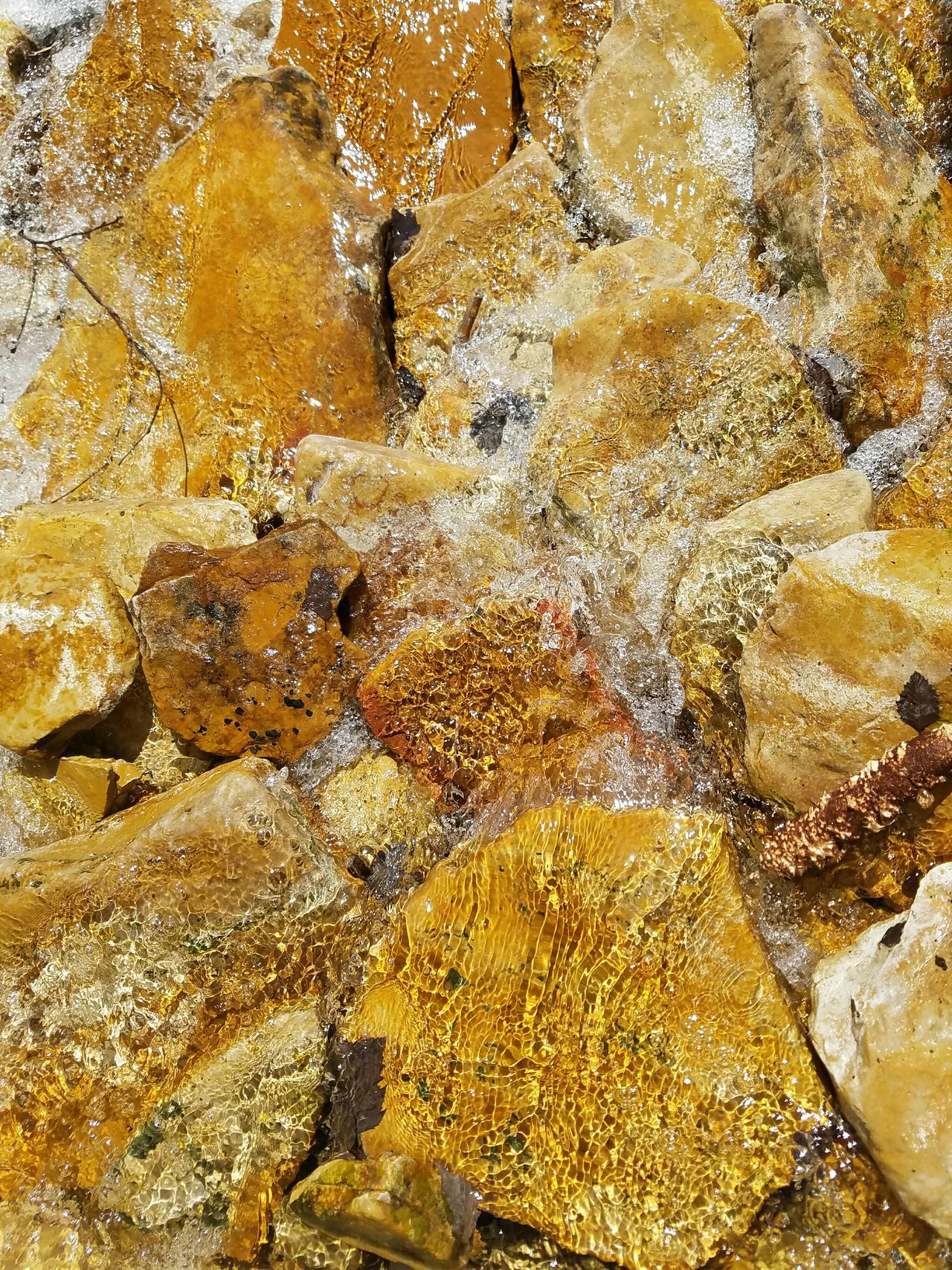 Backgrounds Full Frame Close-up Abstract Textured  No People Yellow Nature Rocks In Water