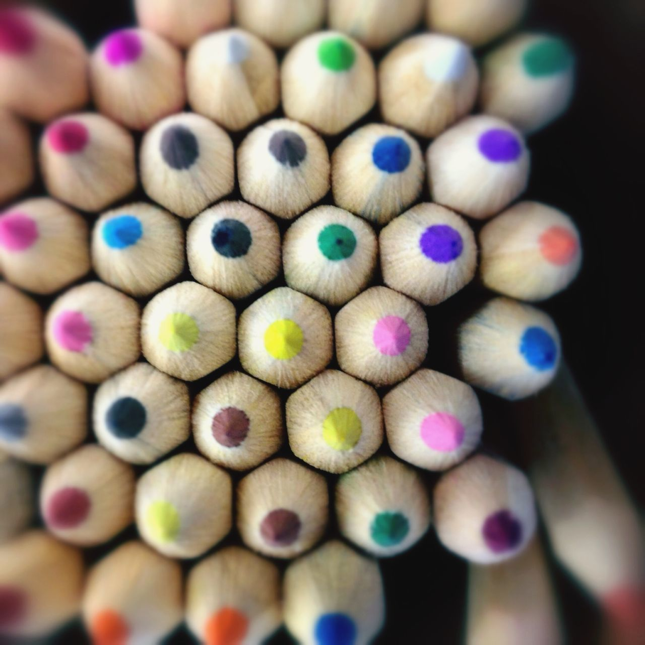 Colourful Pencils Multi-coloured Square School Pointed Points IPhoneography Hexagon Hexagonal