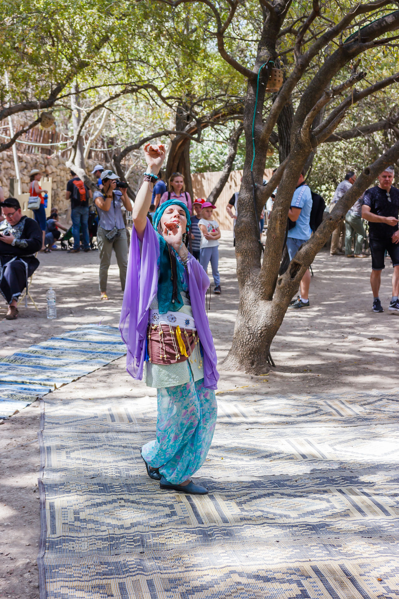 """Jerusalem, Israel, October 03, 2016: Members of the annual festival of """"Knights of Jerusalem"""" dressed as a dancer is dancing oriental dance in Jerusalem, Israel Adult Annual Attraction Dance Day Dressed East Event Festival History Israel Jerusalem Knight  Legacy Medieval Member Music National Outdoors People Perfomance Playing Rolê Show Tradition"""