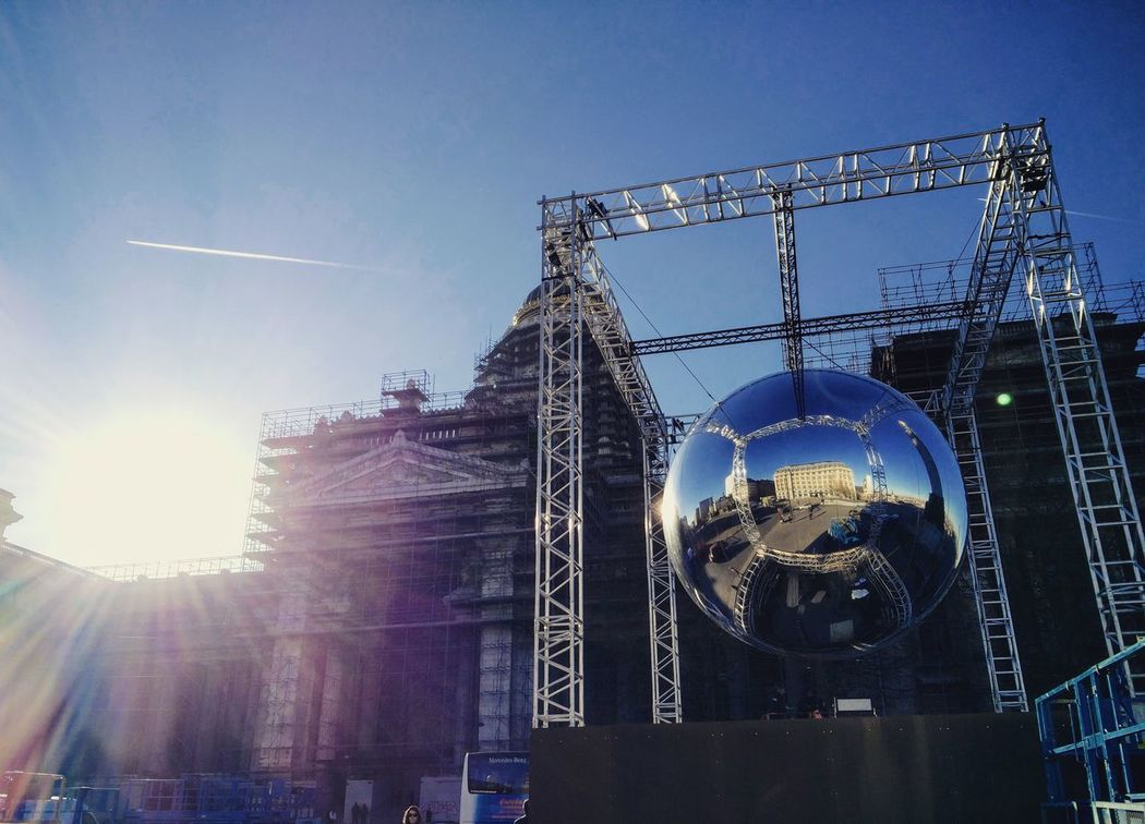 Sky No People Outdoors Day Mirror Ball Brussels Poellaert Truss Bridge Cube Flare Architecturephotography