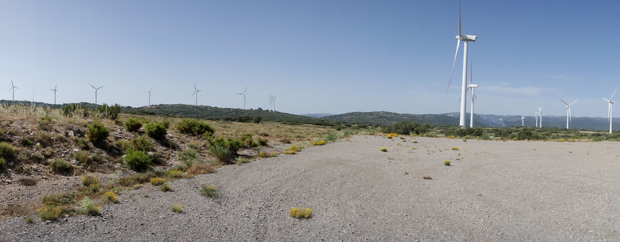 Alternative Energy Barracas Beauty In Nature Castellón Clear Sky Day Fuel And Power Generation Industrial Windmill Landscape Mountain Nature No People Outdoors Renewable Energy Road Sky Wind Power Wind Turbine Windmill