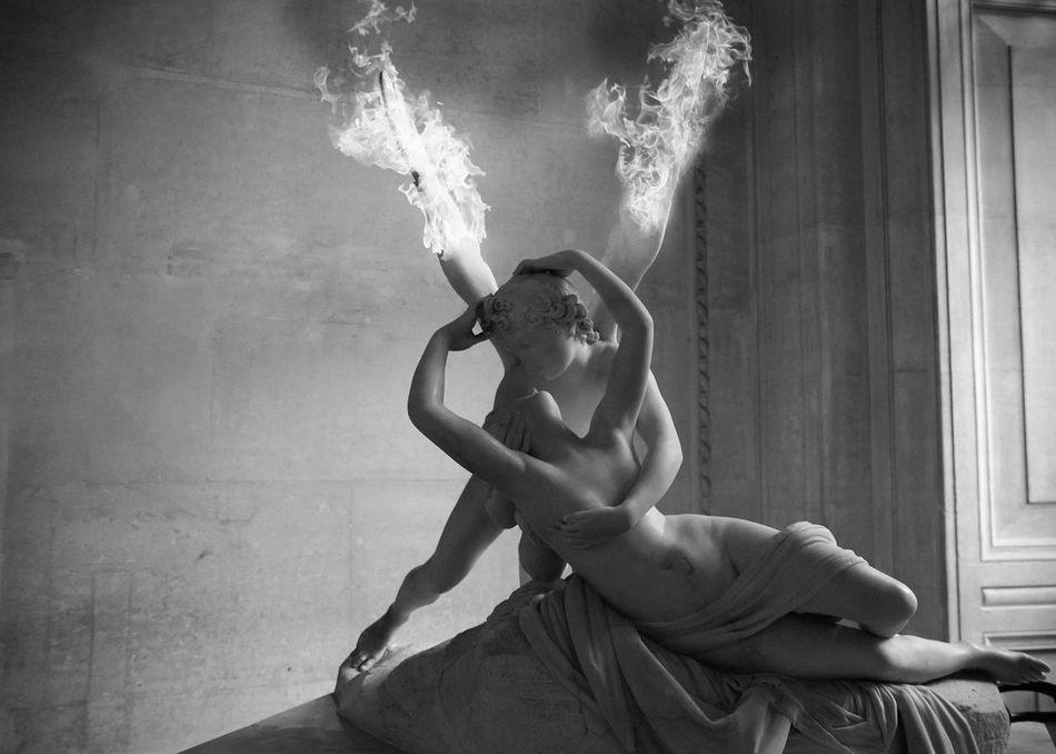 What to See at The Louvre Amor Angel Kissing A Woman Antonio Canova Blackandwhite Burning Wings Fantasy Fiction Linas Was Here Museum Musée Du Louvre Psyche Revived By Cupid's Kiss Romanticism Sculpture