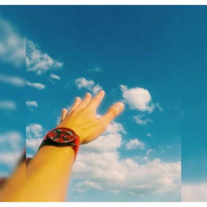 blue sky hands up