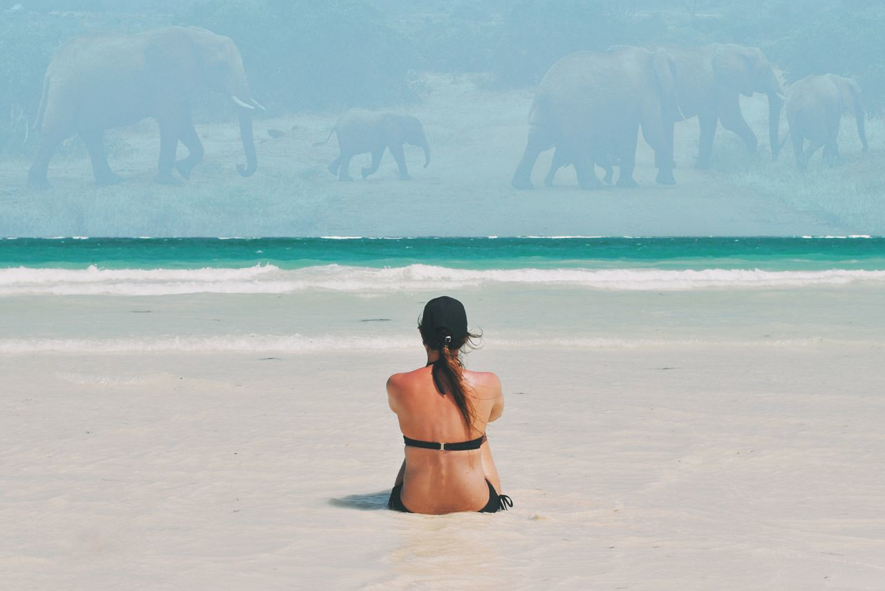 Kenya - 2in1 :) Beach Sand Water Summer Vacations One Person Minimalism Landscape EyeEm Best Edits EyeEm Best Shots Adventure VSCO Travel Travel Destinations Kenya Africa Nature Beauty In Nature Ocean View Ocean People Woman Collage Animals Women Around The World