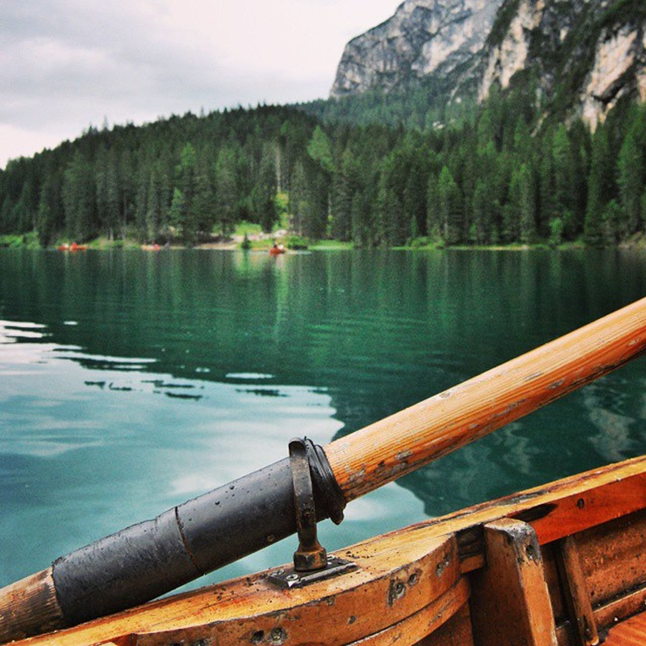 Rowing Prags Braies Wildsee Pragser lake water boat rowing oar reflection nature trees wood sudtirol dolomites blue outdoor