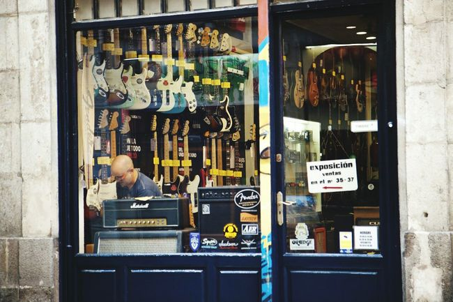 Music Store Transparent Glass - Material Reflection Bright Guitars Guitar Store Shop Window