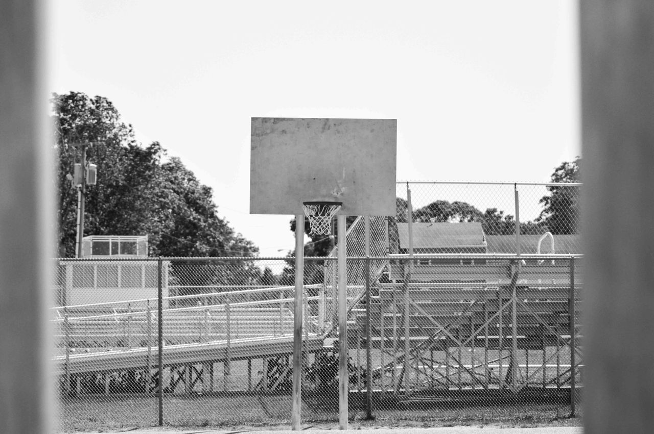Backgrounds Basketball Basketball Court Basketball Hoop Court Day Fence Metal New Jersey New Jersey Parks New Jersey Photography No People Outdoors Park Sky Sport Sports Photography Tree