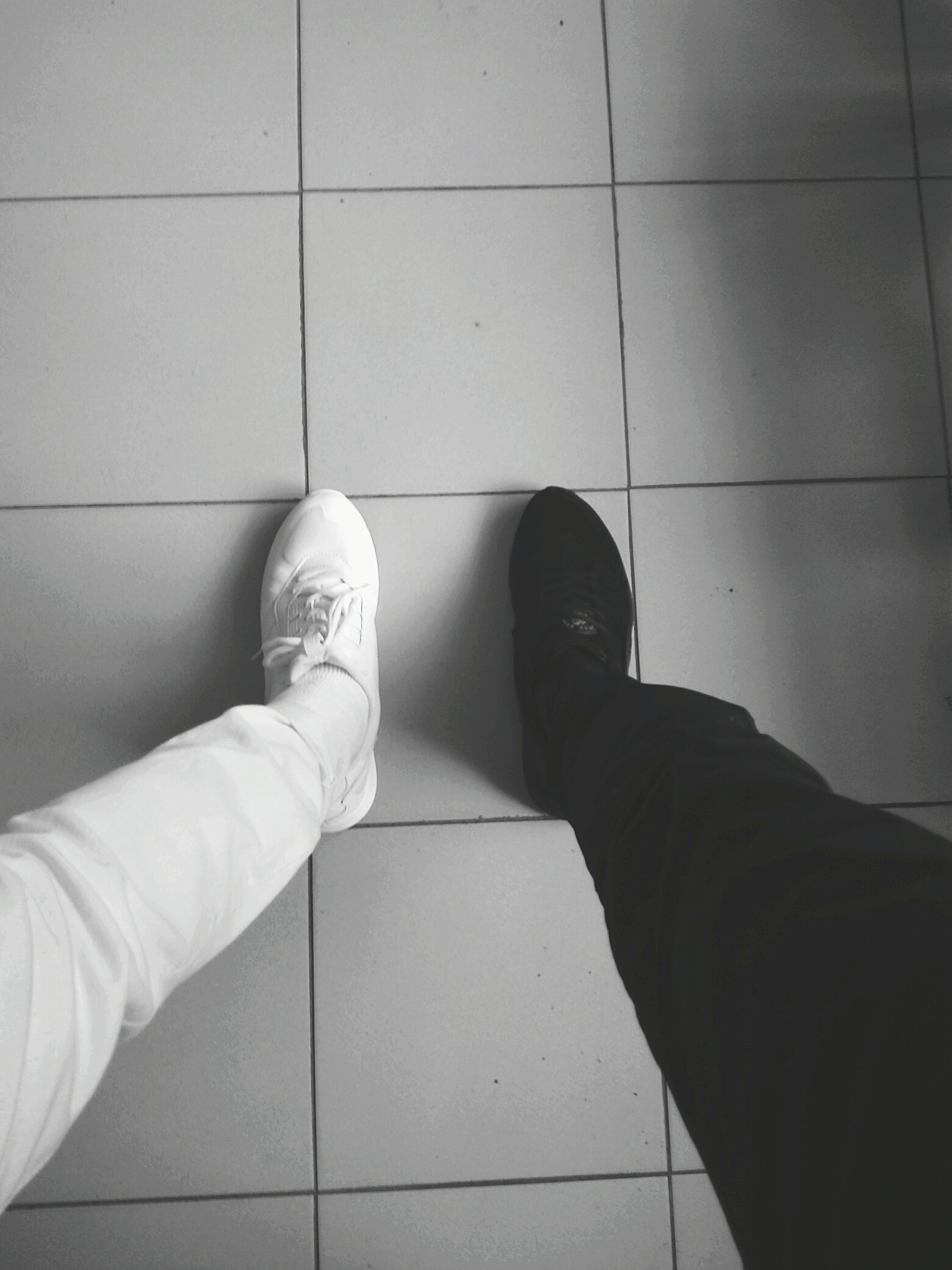 low section, person, standing, personal perspective, indoors, shoe, tiled floor, footwear, men, human foot, tile